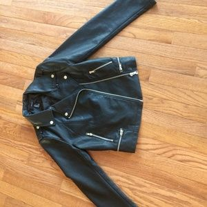 Black Leather Jacket from Forever 21